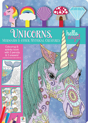 NEW Unicorns Mythical Creatures Colouring Activity Book 5 Pencils & Erasers Kids