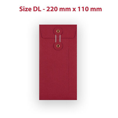 DL Size RED String & Washer Document Storage Bottom-Tie Envelopes Free P&P
