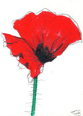 Original ACEO  painting, POPPY FLOWER, Floral&Gardens,Illustration, tiny