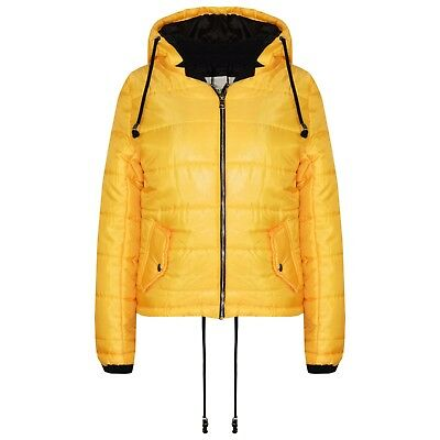 Kids Girls Mustard Bella High Shine Hooded Padded Quilted Puffer Jackets 5-13 Yr