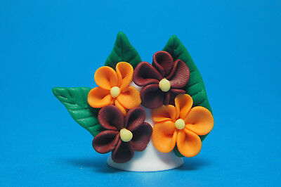 Polymer Clay Handmade/Unique Flowers On China Thimble Made By Rachel No.10 B/44