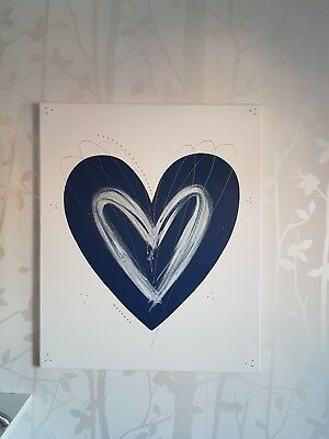 Large navy blue saphire salute white silver love heart wall art  picture canvas