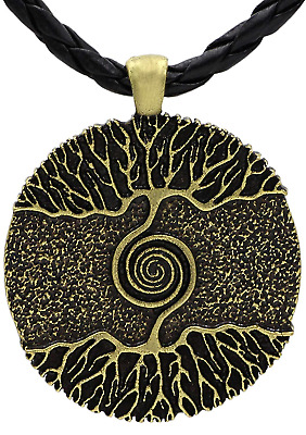 Viking Medieval Tree OF Life Norse Odin Wolf Pendant Necklace Antique Bronze Men