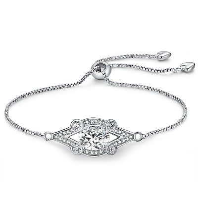 ce9bc73a67ac Women 925 Sterling Silver Bracelet- WISHMISS 4 Prong Oval Artificial  Diamond Box