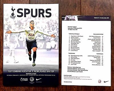 Tottenham Hotspur (Spurs) v Newcastle United 2019 Programme + Team Sheet 2/1/19