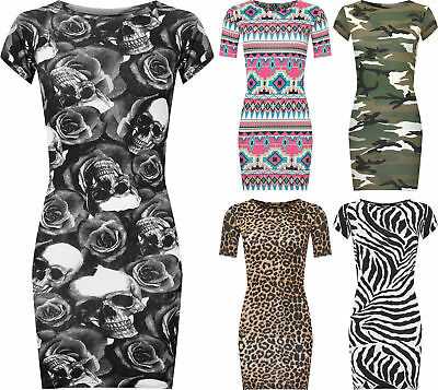 NEW WOMENS PLUS SIZE AZTEC PRINT LADIES SHORT SLEEVE  BODYCON  MIDI DRESS 16-30