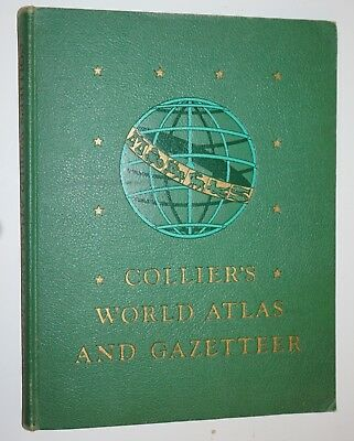 COLLIERS WORLD ATLAS AND GAZETTEER - 1943, 1944 HARDCOVER color maps facts
