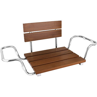 Clevr Adjustable Foldable Teak Wood Bathtub Seat Shower Bench Coated Modern