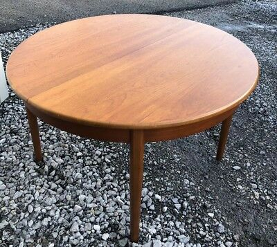 MODERNIST vtg MID CENTURY extending CIRCULAR TEAK DINING TABLE retro DANISH