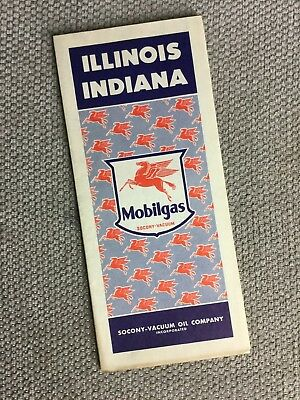Vintage 1941 Illinois Indiana Road Map by Mobilgas Mobil Oil Company