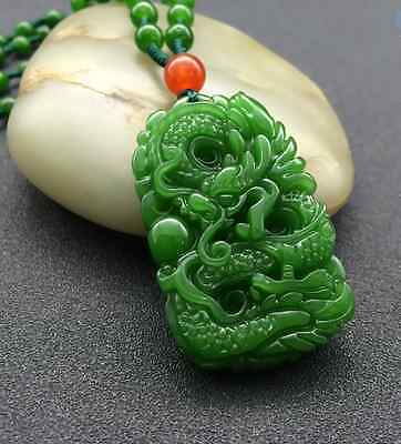 Natural Green Hand-carved Chinese Hetian Jade Pendant -Dragon-Free Necklace GIFT