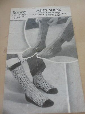 VINTAGE 1950s ? BESTWAY 3 PLY KNITTING PATTERN MENS RIBBED & FAIRISLE SOCKS