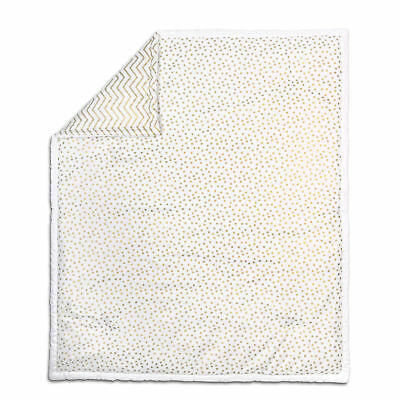Gold Dot and Chevron 100% Cotton Baby Crib Quilt by The Peanut Shell