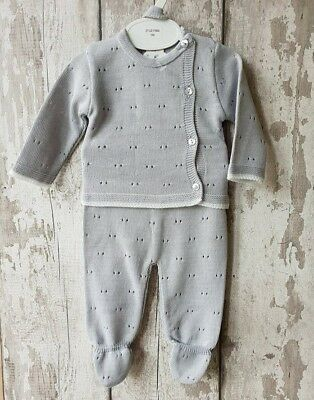 Spanish Style Baby Boy Grey 3 Piece Knitted Romper Set / Outfit.