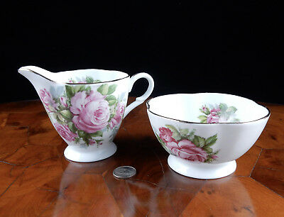 CLARENCE Creamer & Sugar Bone China Roses England 16072