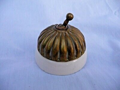 Antique Edwardian Brass And Ceramic Jelly Mould Light Switch Toggle Dolly Switch