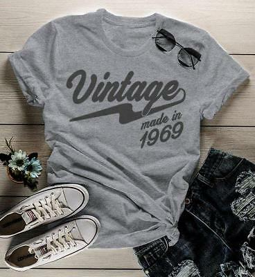 Womens Vintage T Shirt 1969 Birthday Made In 50th Tee Retro Gift