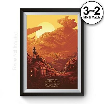 Star Wars Movie Posters The Force Awakens Film Poster 100% Cotton Wall Art Print