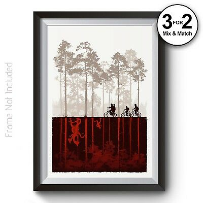 Stranger Things Wall Art Prints,  100% Cotton The Upside Down Posters TV Show