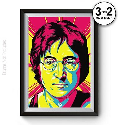 Abstract John Lennon Poster, 100% Cotton Print of The Beatles Music Star Icon