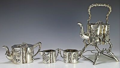 Heavy Antique Chinese Export Silver Tea Coffee Set with Relief Design by Woshing
