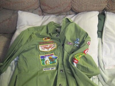 Vintage Boy Scout Shirt With Lots Of Patches Pins, Du Page Area Council Illinois