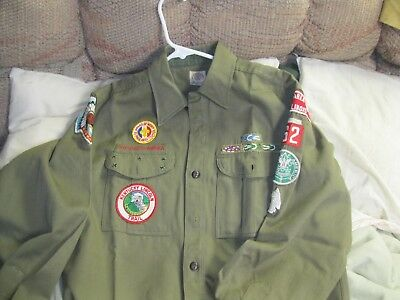 Vintage Boy Scout Shirt With Lots Of Patches , Du Page Area Council Illinois