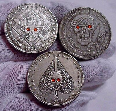 "Set of 3- Rare Hobo Style Morgan DOLLAR SIZE Silver Clad Coins- ""RED EYE"" Series"