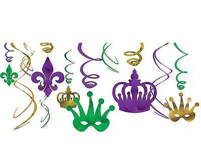 Mardi Gras Foil Swirl Hanging Decorations Purple Green Gold ~12pc New Orleans