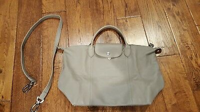 f11ac8d7f7d7 Authentic Longchamp le pliage cuir- Leather Pebble color  Made in FRANCE
