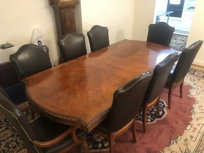 Hickory White 10 Person Cherry Dining Room Table Set Leather Chairs 25k Retail 1 995 00 Picclick