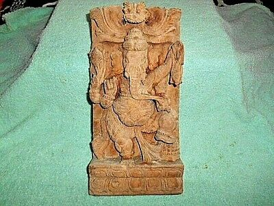 Vintage Handmade Wood Carved Ganesh Hindu Deity - Wall Hanging 12 Inches Tall