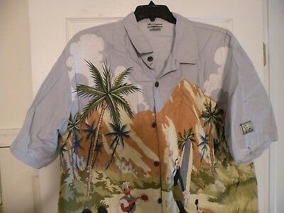 bc70f178e WALT DISNEY WORLD Beach Hang Loose Surfing Mickey Hawaiian Button Down Shirt  XL
