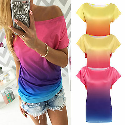 Womens Summer T-Shirt Casual Loose Gradient Tee Shirts One Shoulder Tops Blouse