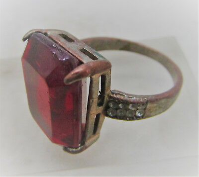 Beautiful Post Medieval Antique Silvered Ring With Faceted Red Glass Inset