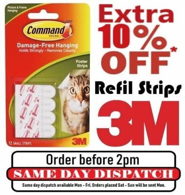 3M Command Hanger Hook Strips Large Medium Small Replacement Refill Low Price!!