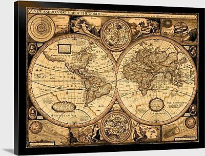 "Antique World Map - 1651 - Stretched canvas print - 40"" x 30"""