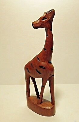 Collectible Hand Carved Wooden African Giraffe Sculpture -- 6-1/2""