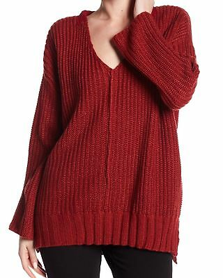 4fec2a693 Cotton Emporium NEW Red Womens Size Large L V-Neck Waffle Knit Sweater  65  983