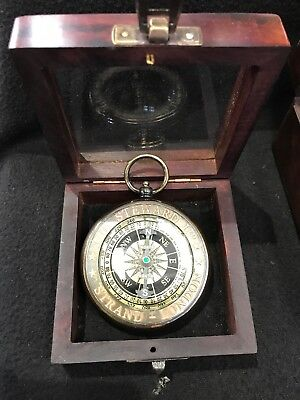 Steampunk Style Brass Copper Nautical Compass In Rosewood Glass Box