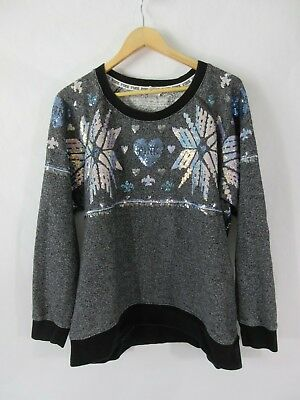 Victoria Secret PINK Oversize Holiday Grey Sweater Sequin Snowflake Bling Large