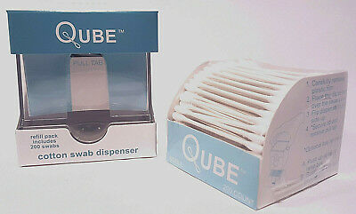 Qtip QUBE Cotton Swab Dispenser with 200 count Refill Pack