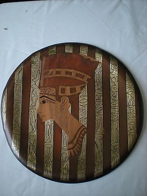 "Vintage Multi-Metal Egyptian Queen Nefertiti 12"" Round Wall Art Plaque"