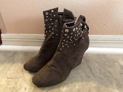 69a4e2aac94806 KATHY VAN ZEELAND Sara Studded Wedge Ankle Boots Suede Brown Size 5 ...