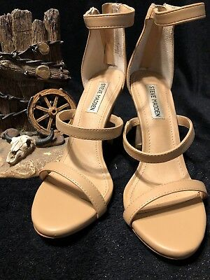 11bf882eb51b STEVE MADDEN FEELYA HIGH HEEL SANDALS NUDE SIZE 8 Stilettos Ankle Strap  Zipper