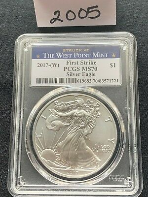 2017(W) American Silver Eagle PCGS MS70 FIRSTSTRIKE-Struck at The West Point
