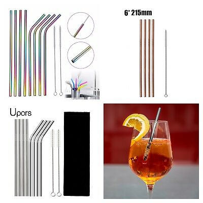 Eco friendly reusable metal drinking straws stainless steel with cleaner tool