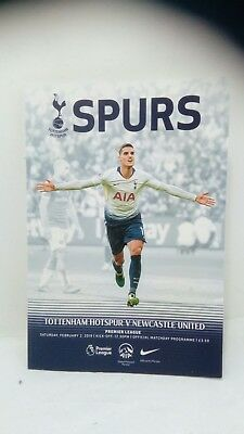 Tottenham Hotspur V Newcastle United 2/2/19 Spurs Matchday Programme