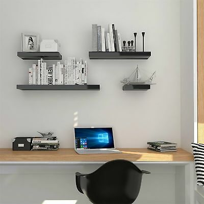 Hudson Black High Gloss Wall Mounted Floating Shelves Display Shelf Unit 3 Sizes