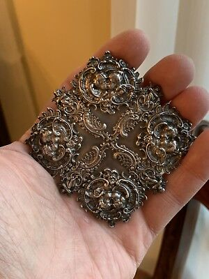 Rare And Very Large Art Nouveau Sterling Silver Buckle